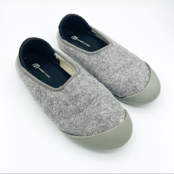 Mahabis Classic Curve Gray Wool Slippers